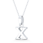 "Initial Letter ""X"" 20x10x3mm (0.8in x 0.4in x 0.12in) Charm 3D Pendant in .925 Sterling Silver - ST-IP002-X-SLP"