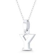 "Initial Letter ""Y"" 20x11x3mm (0.8in x 0.43in x 0.12in) Charm 3D Pendant in .925 Sterling Silver - ST-IP002-Y-SLP"