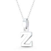"""Initial Letter """"Z"""" 20x8x3mm (0.8in x 0.3in x 0.12in) Charm 3D Pendant in .925 Sterling Silver - ST-IP002-Z-SLP"""