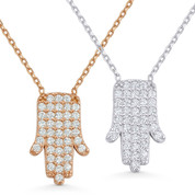 Hamsa Hand Luck Charm CZ Crystal Pendant & Chain Necklace in .925 Sterling Silver - HHN-010-SL