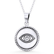 Evil Eye Luck Charm 27mm Circle Pendant & Chain Necklace in Oxidized .925 Sterling Silver - 31.99