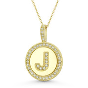 "Cubic Zirconia Crystal Pave Initial Letter ""J"" & Halo Round Disc Pendant in Solid 14k Yellow Gold - BD-IP3-J-DiaCZ-14Y"
