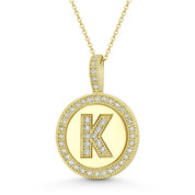 """Cubic Zirconia Crystal Pave Initial Letter """"K"""" & Halo Round Disc Pendant in Solid 14k Yellow Gold - BD-IP3-K-DiaCZ-14Y"""