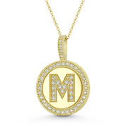 """Cubic Zirconia Crystal Pave Initial Letter """"M"""" & Halo Round Disc Pendant in Solid 14k Yellow Gold - BD-IP3-M-DiaCZ-14Y"""