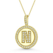 """Cubic Zirconia Crystal Pave Initial Letter """"N"""" & Halo Round Disc Pendant in Solid 14k Yellow Gold - BD-IP3-N-DiaCZ-14Y"""
