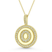 """Cubic Zirconia Crystal Pave Initial Letter """"O"""" & Halo Round Disc Pendant in Solid 14k Yellow Gold - BD-IP3-O-DiaCZ-14Y"""