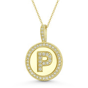 """Cubic Zirconia Crystal Pave Initial Letter """"P"""" & Halo Round Disc Pendant in Solid 14k Yellow Gold - BD-IP3-P-DiaCZ-14Y"""
