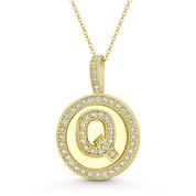 """Cubic Zirconia Crystal Pave Initial Letter """"Q"""" & Halo Round Disc Pendant in Solid 14k Yellow Gold - BD-IP3-Q-DiaCZ-14Y"""
