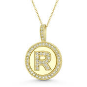 """Initial Letter """"R"""" Halo CZ Crystal Pave 14k Yellow Gold 19x13mm Necklace Pendant - BD-IP3-R-DiaCZ-14Y"""