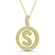 """Cubic Zirconia Crystal Pave Initial Letter """"S"""" & Halo Round Disc Pendant in Solid 14k Yellow Gold - BD-IP3-S-DiaCZ-14Y"""