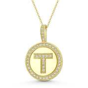 """Cubic Zirconia Crystal Pave Initial Letter """"T"""" & Halo Round Disc Pendant in Solid 14k Yellow Gold - BD-IP3-T-DiaCZ-14Y"""