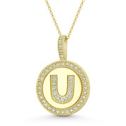 """Cubic Zirconia Crystal Pave Initial Letter """"U"""" & Halo Round Disc Pendant in Solid 14k Yellow Gold - BD-IP3-U-DiaCZ-14Y"""