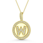 """Cubic Zirconia Crystal Pave Initial Letter """"W"""" & Halo Round Disc Pendant in Solid 14k Yellow Gold - BD-IP3-W-DiaCZ-14Y"""