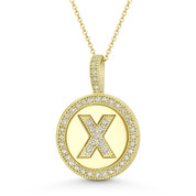 """Cubic Zirconia Crystal Pave Initial Letter """"X"""" & Halo Round Disc Pendant in Solid 14k Yellow Gold - BD-IP3-X-DiaCZ-14Y"""