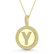 """Cubic Zirconia Crystal Pave Initial Letter """"Y"""" & Halo Round Disc Pendant in Solid 14k Yellow Gold - BD-IP3-Y-DiaCZ-14Y"""