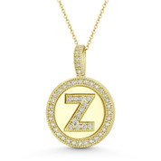 """Cubic Zirconia Crystal Pave Initial Letter """"Z"""" & Halo Round Disc Pendant in Solid 14k Yellow Gold - BD-IP3-Z-DiaCZ-14Y"""