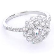 CZ Crystal Right-Hand Flower Ring in .925 Sterling Silver w/ Rhodium Plating - FR003-DiaCZ-SLW