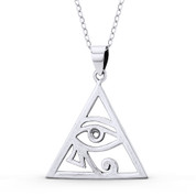 Eye of Horus Egyptian Luck Charm Pendant & Chain Necklace in Oxidized .925 Sterling Silver - EYESP118-SLO