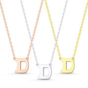 """Small Initial Letter """"D"""" Pendant & Chain Necklace in Solid 14k Rose, White, & Yellow Gold - BD-IN1-D-14"""