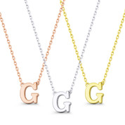 """Small Initial Letter """"G"""" Pendant & Chain Necklace in Solid 14k Rose, White, & Yellow Gold - BD-IN1-G-14"""
