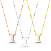 """Small Initial Letter """"I"""" Pendant & Chain Necklace in Solid 14k Rose, White, & Yellow Gold - BD-IN1-I-14"""