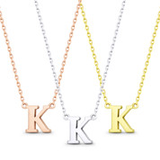 """Small Initial Letter """"K"""" Pendant & Chain Necklace in Solid 14k Rose, White, & Yellow Gold - BD-IN1-K-14"""