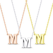 """Small Initial Letter """"M"""" Pendant & Chain Necklace in Solid 14k Rose, White, & Yellow Gold - BD-IN1-M-14"""