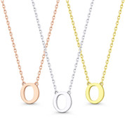 """Small Initial Letter """"O"""" Pendant & Chain Necklace in Solid 14k Rose, White, & Yellow Gold - BD-IN1-O-14"""