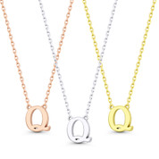 """Small Initial Letter """"Q"""" Pendant & Chain Necklace in Solid 14k Rose, White, & Yellow Gold - BD-IN1-Q-14"""