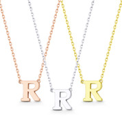 """Small Initial Letter """"R"""" Pendant & Chain Necklace in Solid 14k Rose, White, & Yellow Gold - BD-IN1-R-14"""