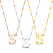 """Small Initial Letter """"S"""" Pendant & Chain Necklace in Solid 14k Rose, White, & Yellow Gold - BD-IN1-S-14"""