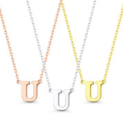 """Initial Letter """"U"""" 14k Rose White Yellow Gold Pendant & Chain Necklace - BD-IN1-U-14"""