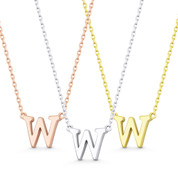 """Small Initial Letter """"W"""" Pendant & Chain Necklace in Solid 14k Rose, White, & Yellow Gold - BD-IN1-W-14"""