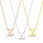 """Small Initial Letter """"Z"""" Pendant & Chain Necklace in Solid 14k Rose, White, & Yellow Gold - BD-IN1-Z-14"""