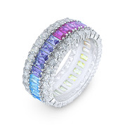 Baguette & Round Multi-Color CZ Crystal Eternity Ring in .925 Sterling Silver w/ Rhodium - GN-FR004-MultiCZ-SLW