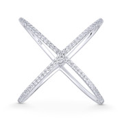 Ladies' Right-Hand Criss-Cross X-Ring w/ CZ Crystals in .925 Sterling Silver w/ Rhodium - GN-FR013-DiaCZ-SLW