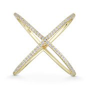 Ladies' Right-Hand Criss-Cross X-Ring w/ CZ Crystals in .925 Sterling Silver w/ 14k Yellow Gold - GN-FR013-DiaCZ-SLY