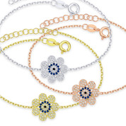 Evil Eye & Flower Charm Bracelet with CZ Crystals in .925 Sterling Silver - EYES37B