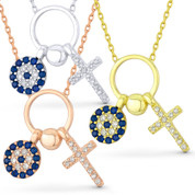 Cross & Evil Eye Charm CZ Crystal Pendant & Chain Necklace in .925 Sterling Silver - EYESN46