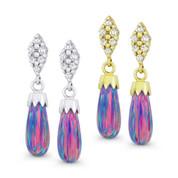 Fiery Lavender Synthetic Opal Dangling Earrings w/ Screwbacks in 14k White or Yellow Gold - BD-DE008-OP_Lavender-14