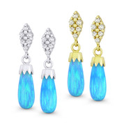 Fiery Azure-Blue Synthetic Opal Dangling Earrings w/ Screwbacks in 14k White or Yellow Gold - BD-DE008-OP_Blue1-14