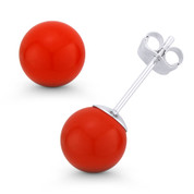 3-10mm Orange Coral Ball Studs 14k 14kt White Gold Pushback-Clasp Stud Earrings - ES018-CR_Orange-PB-14W