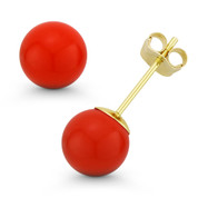 3-10mm Orange Coral Ball Studs 14k 14kt Yellow Gold Pushback-Clasp Stud Earrings - ES018-CR_Orange-PB-14Y