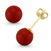 3mm-10mm Red Coral Ball Studs 14k 14kt Yellow Gold Pushback-Clasp Stud Earrings - ES018-CR_Red-PB-14Y