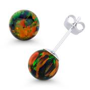 Fiery Black Synthetic Opal Round Ball Pushback Stud Earrings in 14k White Gold - ES018-OP_Black4-PB-14W
