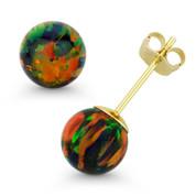 Fiery Black Synthetic Opal Round Ball Pushback Stud Earrings in 14k Yellow Gold  - ES018-OP_Black4-PB-14Y