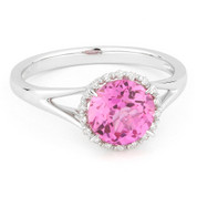 1.81ct Round Brilliant Cut Lab-Created Pink Sapphire & Diamond Halo Promise Ring in 14k White Gold