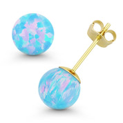 Fiery Azure Blue Synthetic Opal Ball Pushback Stud Earrings in 14k Yellow Gold - ES018-OP_Blue1-PB-14Y