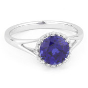 1.79ct Round Brilliant Cut Lab-Created Blue Sapphire & Diamond Halo Promise Ring in 14k White Gold