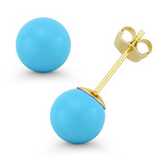 3mm to 10mm Blue Turquoise Ball Studs 14k 14kt Yellow Gold Pushback Stud Earrings - ES018-TQ_Blue-PB-14Y
